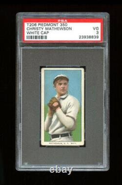 1909-11 T206 Set Break Christy Mathewson white cap Piedmont 350 PSA 3 VG