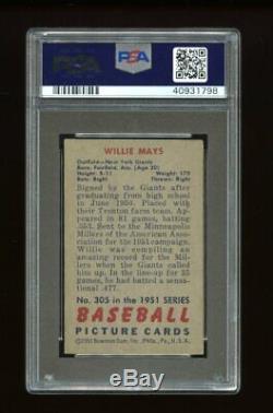 1951 Bowman Set Break #305 Willie Mays RC PSA 6 EX-MT
