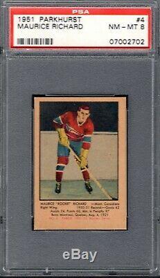 1951 Parkhurst Hockey Set Break 4 Maurice Richard HOF Rookie PSA 8 NM-MT ROCKET
