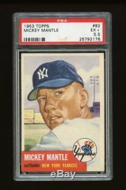 1953 Topps Set Break # 82 Mickey Mantle PSA 5.5 EX+