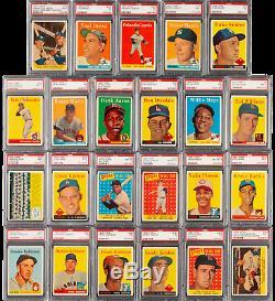 1958 Topps Baseball PSA Graded Complete Set (494), with 300 PSA 8's