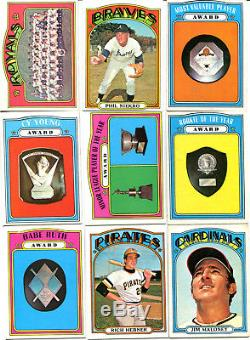 1972 TOPPS NEAR LOW# SET/LOT 617/656 With MAYS, AARON, CLEMENTE W. S. EX-EX/MINT
