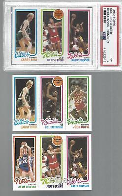 1980-81 Topps Basketball Complete 176 Panel Set 528 Card Bird Magic Rookie PSA 7