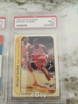 1986-1987 Fleer Michael Jordan psa 8 with set and stickers