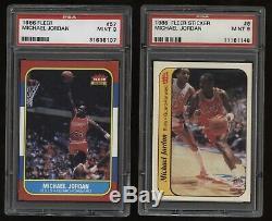 1986-87 Fleer BASE #57 & STICKER #8 Michael Jordan RC PSA 9 MINT Set LOT! GOAT