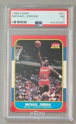 1986-87 Fleer Basketball Complete Set 132/132 with Michael Jordan PSA 7 NM RC