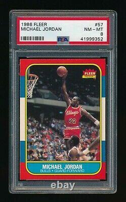 1986-87 Fleer Basketball Complete Set PSA 8 NM-MT 132 Cards with Michael Jordan RC