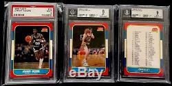 1986-87 Fleer Basketball PSA/BGS 9 Mint Complete Set #57 Michael Jordan Rookie