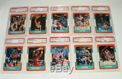 1986 FLEER BASKETBALL SET w STICKERS COMPLETE W MICHAEL JORDAN ROOKIE PSA 8 WOW