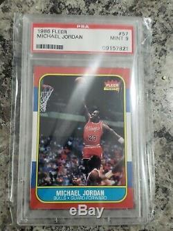 1986 Fleer #57 Michael Jordan Rookie Card Rc Psa 9 Mint On Fire