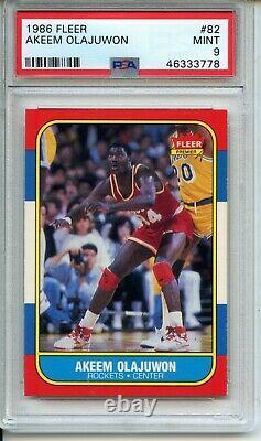 1986 Fleer #82 Hakeem Olajuwon Rookie PSA 9 Mint Set Break Much Nicer Superior