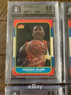 1986 Fleer Basketball Complete Set 1-132 All Graded Bgs 8.5 With Jordan #57 Rc
