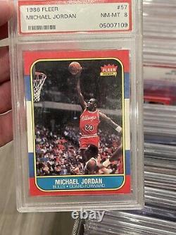 1986 Fleer Basketball Complete Set Jordan PSA 8 Centered, Most Stars PSA 9