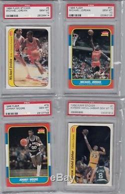 1986 Fleer Basketball PSA 10 132 card set and the 11 card Sticker set Jordan
