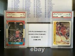 1986 Fleer Basketball PSA 8 143/143 (NQ) Complete Set withStickers! Both Jordans