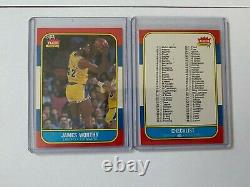 1986 Fleer Basketball Set with Stickers no Jordan with PSA 8 cards