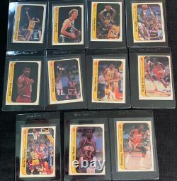 1986 Fleer Basketball Sticker Set 1-11. RARE. INCLUDES MICHAEL JORDAN BEAUTIFUL