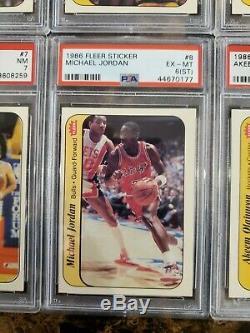 1986 Fleer Basketball Sticker Set MICHAEL JORDAN Rookie Bird Olajuwon PSA 6 7 8