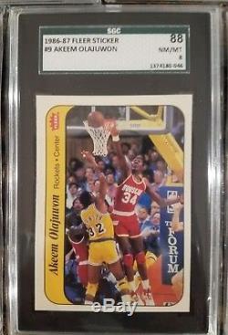 1986 Fleer Basketball Sticker Set SGC 88 8 MICHAEL JORDAN Rc Jabbar Olajuwon PSA
