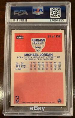1986 Fleer Psa 9 Complete Set 1-132 With Michael Jordan #57 Rc