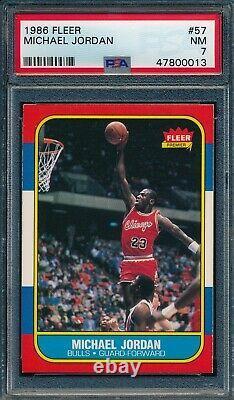1986 Fleer Set Break # 57 Michael Jordan PSA 7 NM OBGcards