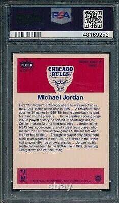 1986 Fleer Set Break # 8 Michael Jordan Sticker PSA 8 NM-MT OBGcards