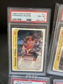1986 fleer basketball Sticker set PSA 8
