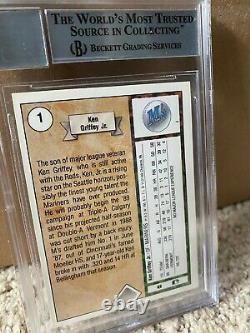 1989 Upper Deck #1 Ken Griffey Jr RC Star Rookie Auto Autograph BGS BAS 10