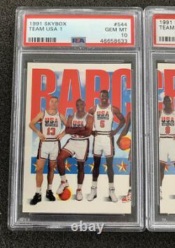 1991 Skybox Olympic Dream Team USA Set(3) Michael Jordan & Crew PSA 10