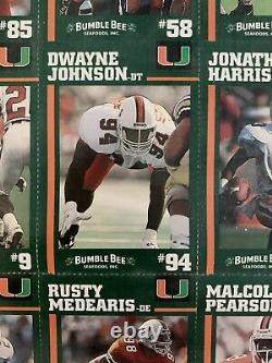 1994 Bumble Bee Miami Hurricanes Uncut Set Dwayne Johnson Rookie The Rock Sapp