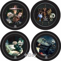 2003 10th Anniversary Nightmare Before Christmas Dinnerware Plate Set of 4
