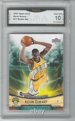 2007-08 Kevin Durant Upper Deck Rookie Set #11 Graded Gma Gem Mint 10 Rc