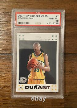 2007 Kevin Durant Topps Rookie Card Set PSA 10 GEM Mint RC #2 Nets Quantity QTY