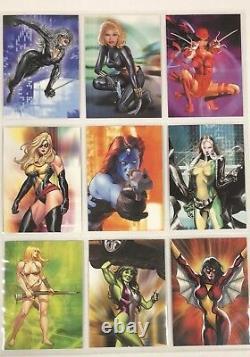 2008 Women of Marvel 1 Master Set Base, Embrace, Embossed, Swimsuit & Promos