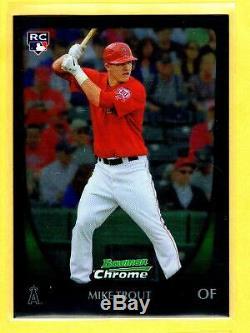 2011 Bowman #175 & #101 MIKE TROUT SP RC Chrome + REFRACTORS Lot 4 Sarter Set