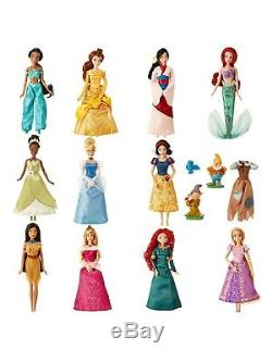 2017 DISNEY Store Classic 11 Princess Deluxe Doll Barbie Collection Gift Set