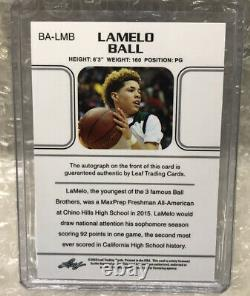 2018 LaMelo Ball TRUE First RC ON CARD 1/1 AUTO Leaf Ultimate Draft One Of One