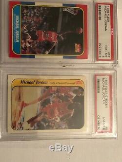 Michael Jordan 1986 Fleer Rookie Rc Psa 8 86-87 Complete Set (132) Stickers (11)