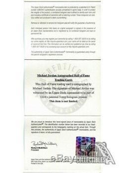 Michael Jordan 2013 Upper Deck Employee Box Game Used Floor & Auto Card BAS 8.5