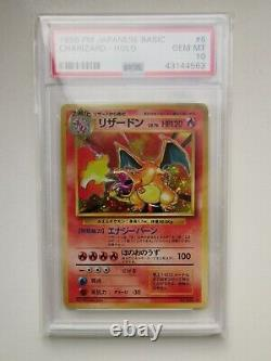 PSA 10 GEM MINT Japanese Holo Charizard Base Set 1996 No. 006 Pokemon Card