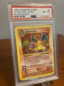 PSA 8 NM-MT Charizard 4/102 Shadowless Base Set Holo Pokemon Trading Card