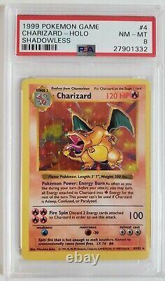 PSA 8 Shadowless Charizard Trading Card Pokémon, Base Set #4