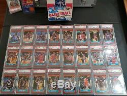 Psa Jordan Barkley Olajuwon Ewing Bird 1986-87 Fleer Complete Set & Stickers Psa