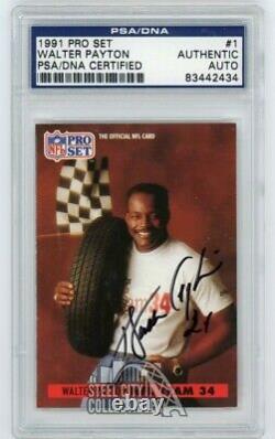 Walter Payton 1991 Pro Set Autographed Auto Card #1 PSA/DNA