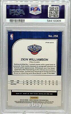 Zion Williamson 19 20 Panini Hoops Premium Stock RC Pulsar PSA 10 Gem Mint #258